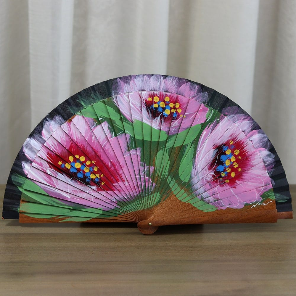 hand painted floral Spanish fan