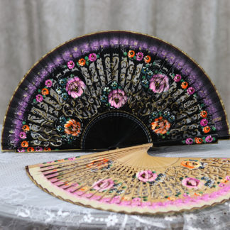 hand painted fan violet flowers