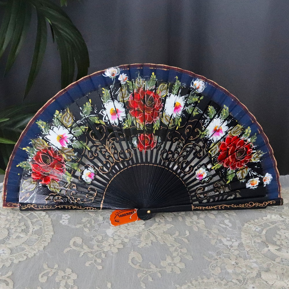 hand painted carved fan