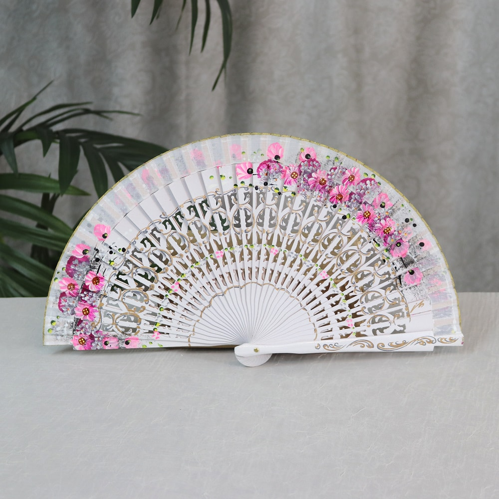 hand painted fan with pink flowers