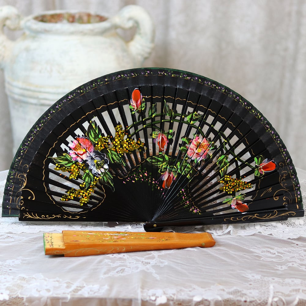 Painted carved fan