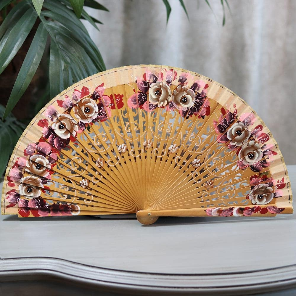hand painted wood fan
