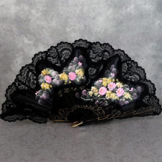 black lace trimmed fan
