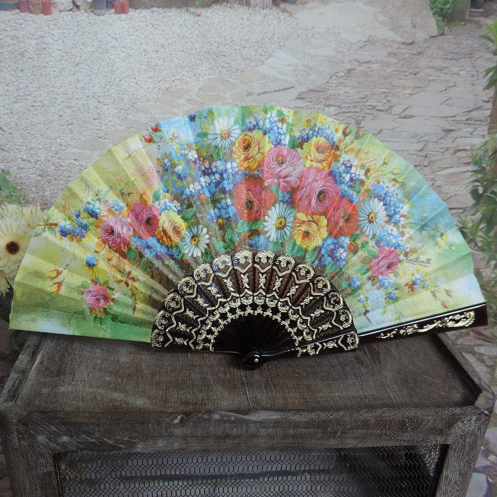 printed floral hand fan