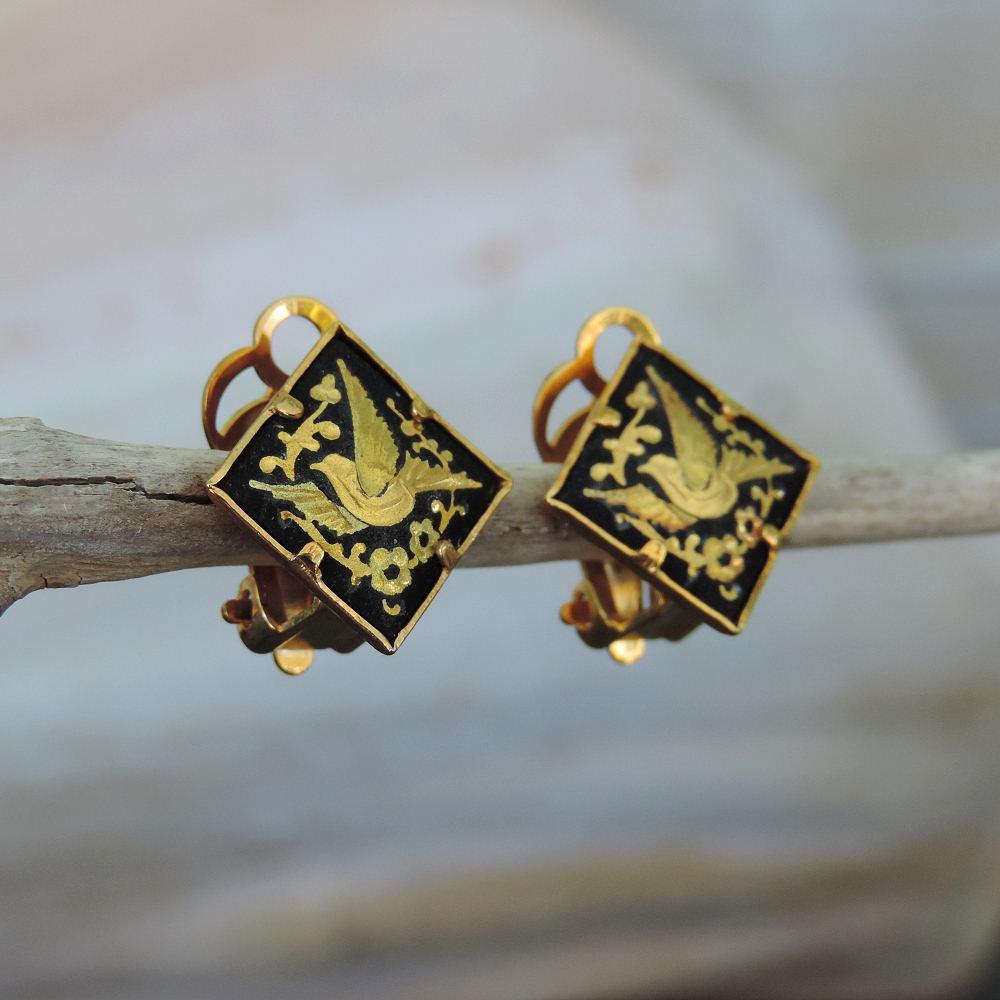 dainty damascene clip earrings