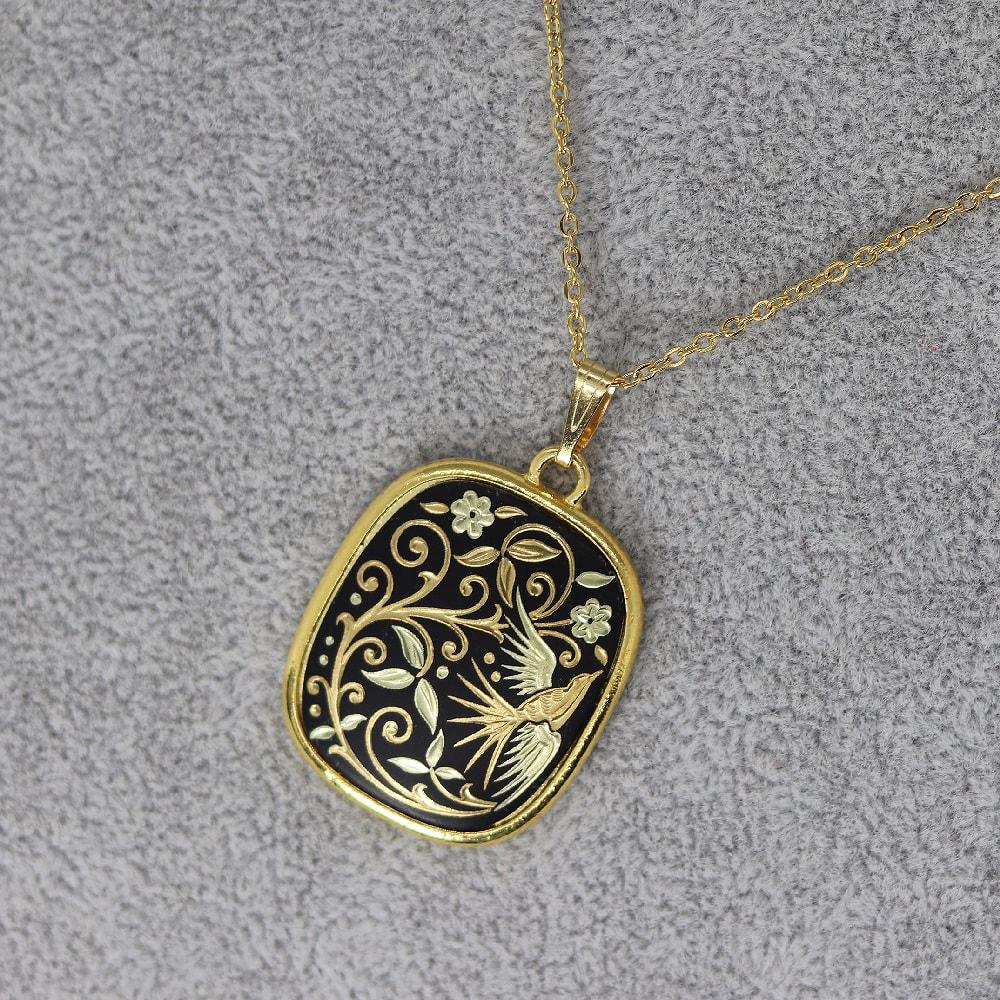 rounded rectangle damascene pendant