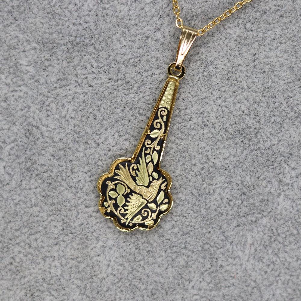 flower drop damascene pendant
