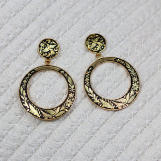 gorgeous damascene hoop earrings