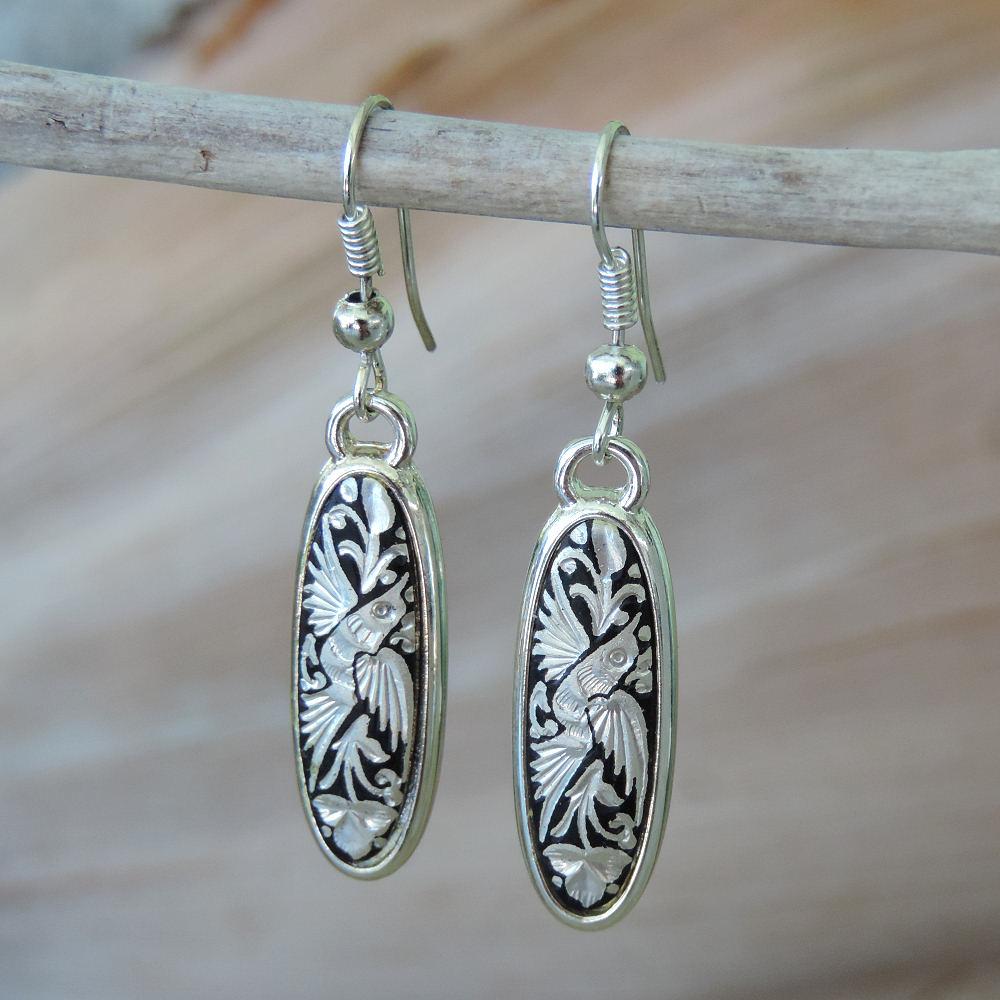 silver damascene earring