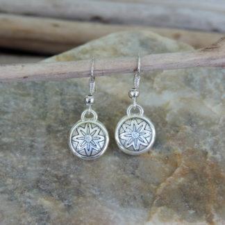silver damascene earrings