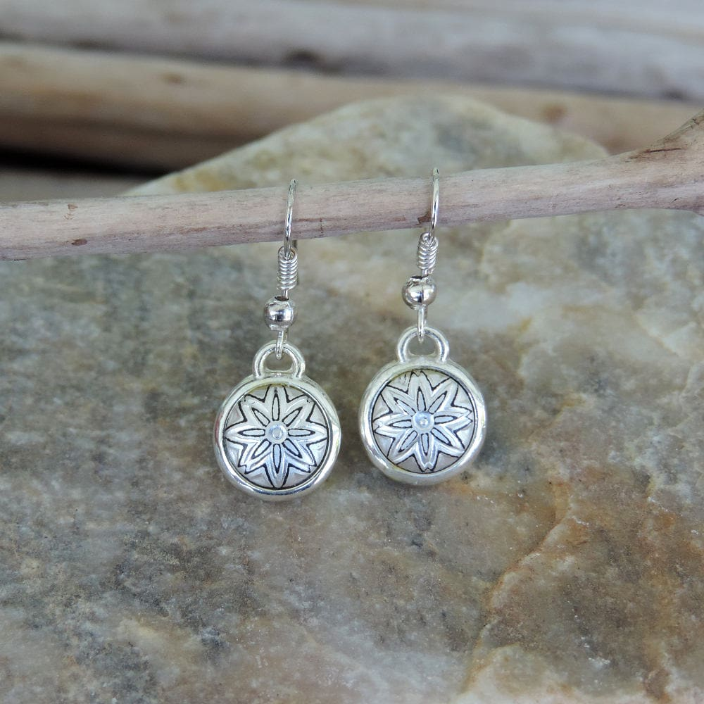 silver damascene earrings