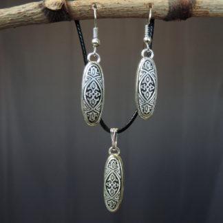 silver damascene jewelry set