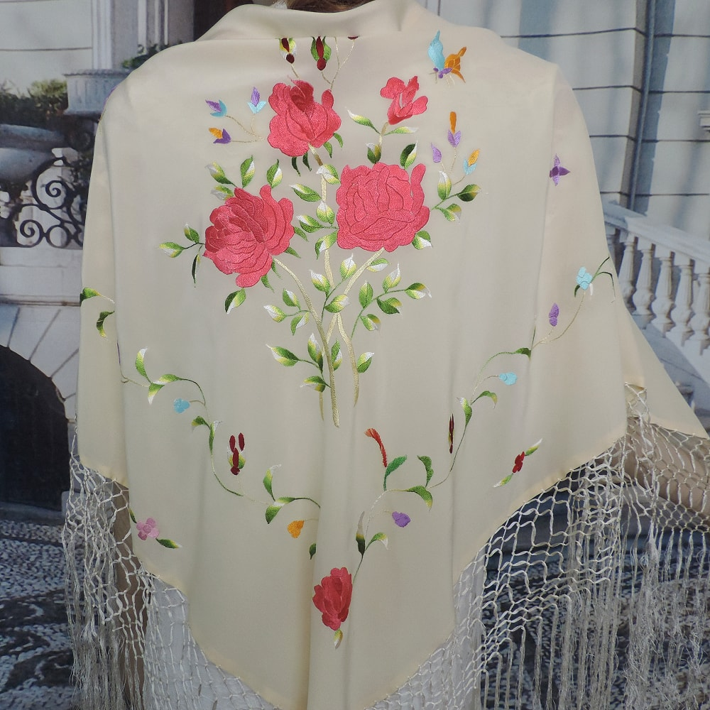 embroidered silk shawl