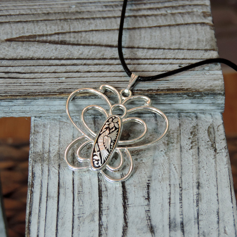 silver damasquino butterfly necklace