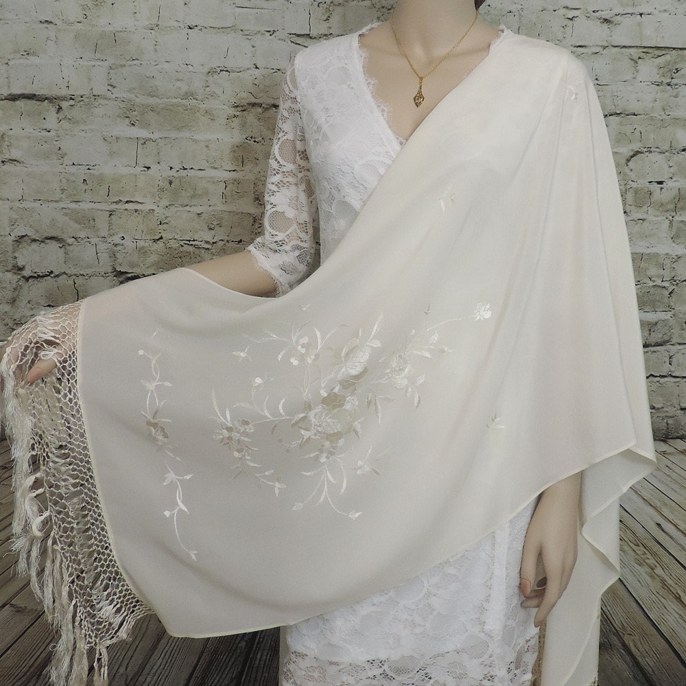 Spanish embroidered silk shawl
